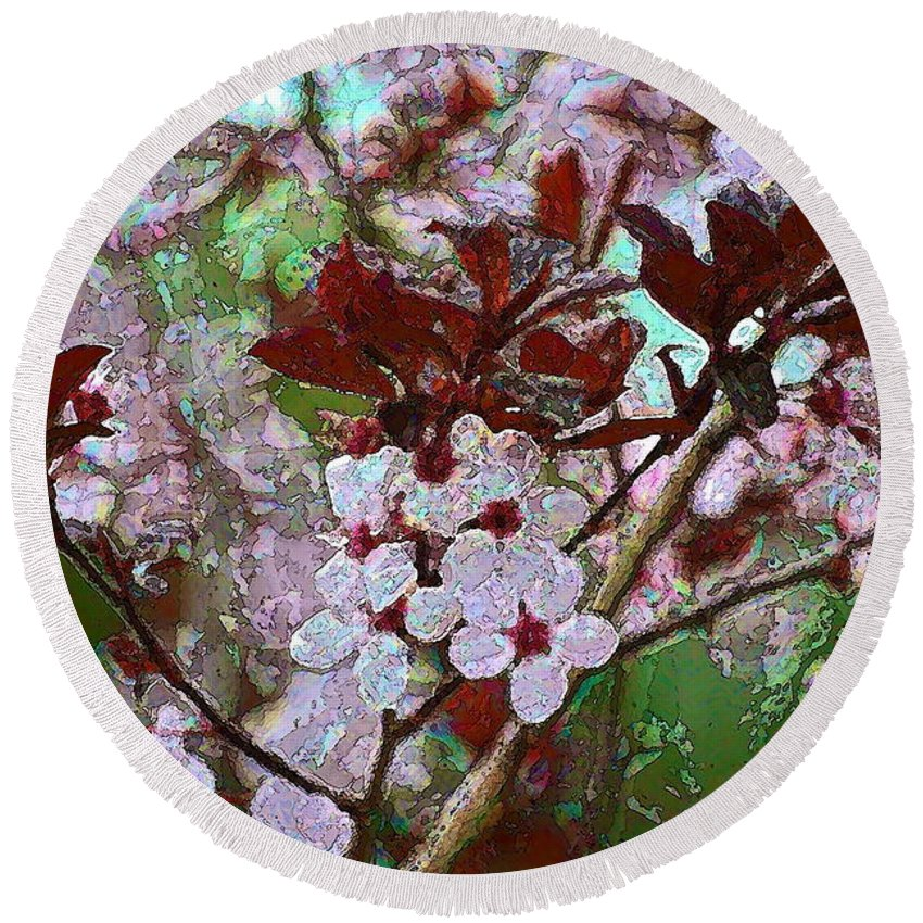 Plum Blossoms Round Beach Towel featuring the photograph Color 66 by Pamela Cooper