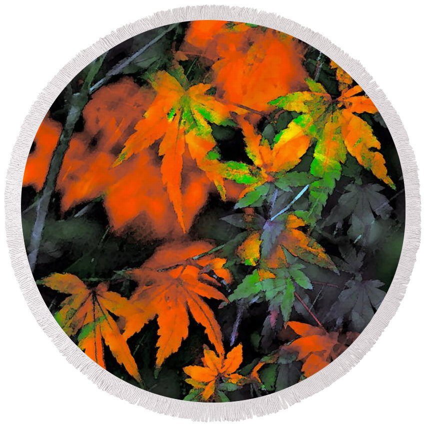 Leaves Round Beach Towel featuring the photograph Color 92 by Pamela Cooper