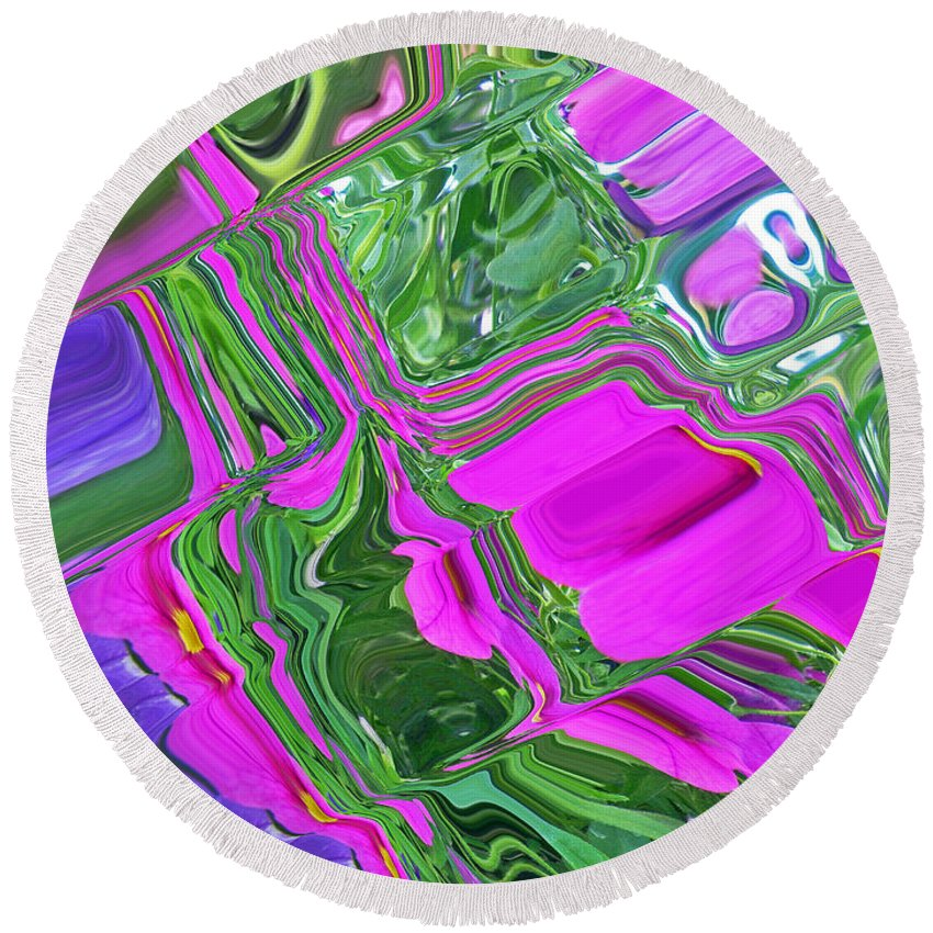 Abstract Round Beach Towel featuring the photograph Color Craze by Aimee L Maher ALM GALLERY