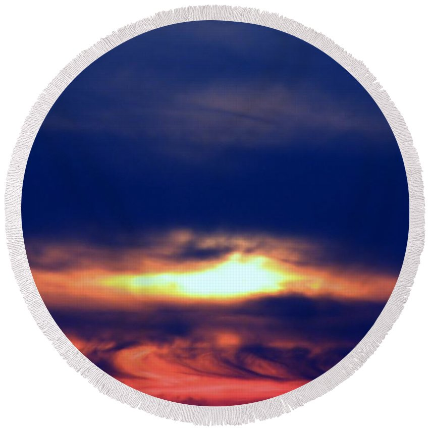 Sunset Round Beach Towel featuring the photograph Color Explosion by Art Dingo