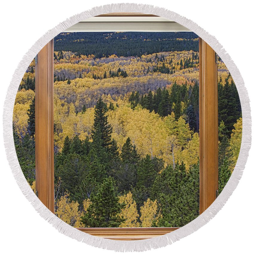 Picture Round Beach Towel featuring the photograph Colorado Autumn Picture Window Frame Art Photos by James BO Insogna