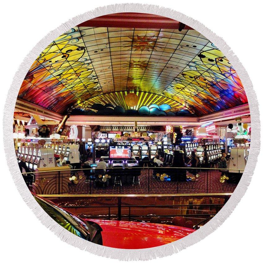Colorado Round Beach Towel featuring the digital art Colorado Casino by Barkley Simpson