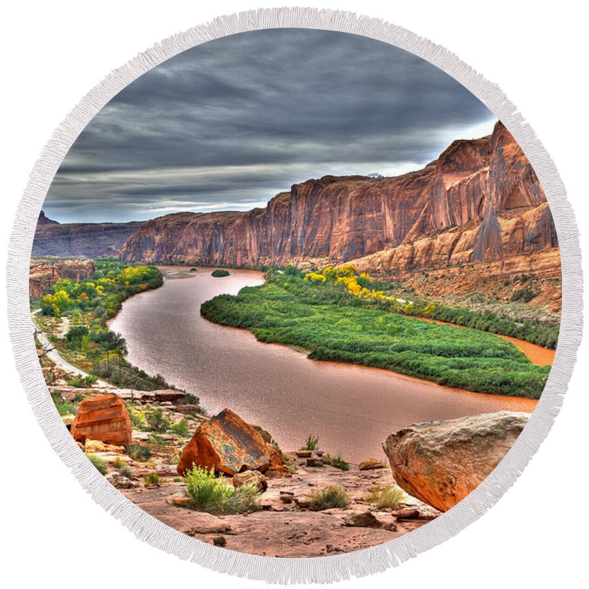 Hdr Round Beach Towel featuring the photograph Colorado River Flows Through A Stormy Moab Portal by Gary Whitton
