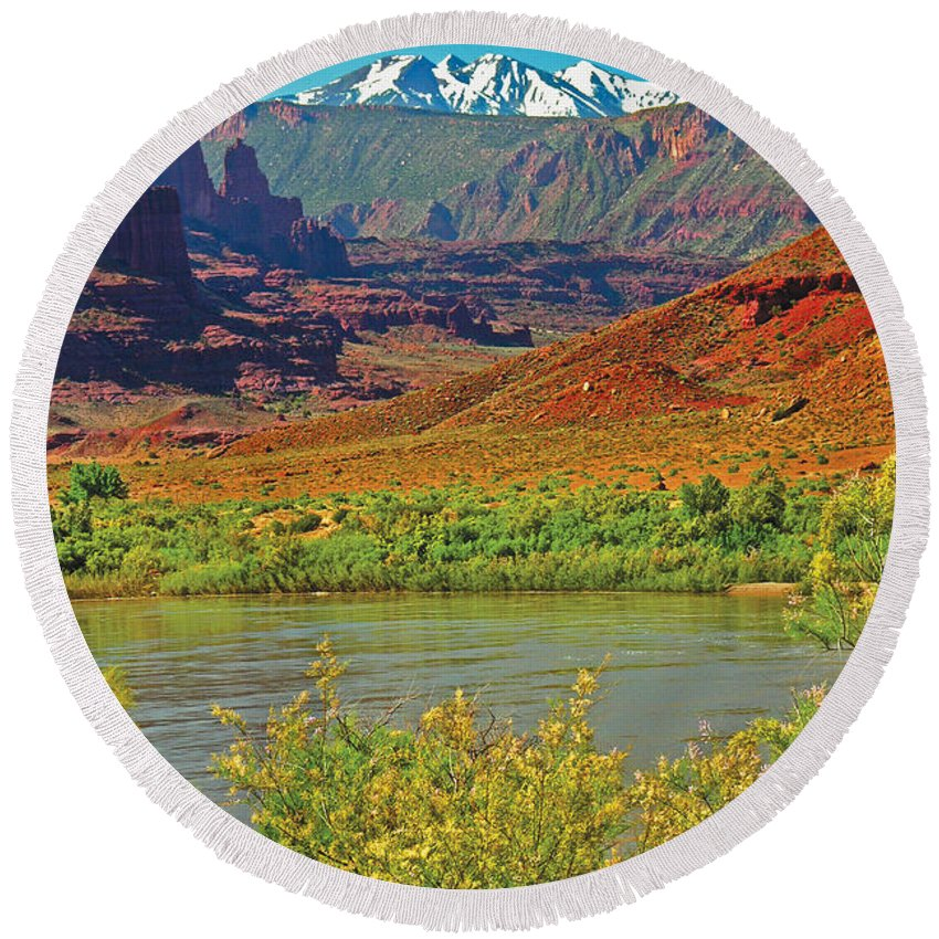 Orange Round Beach Towel featuring the photograph Colorado River by Peggy Starks