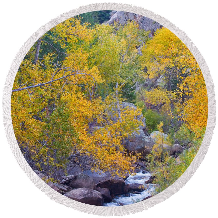 'rocky Mountains' Round Beach Towel featuring the photograph Colorado Rocky Mountain Autumn Canyon View by James BO Insogna