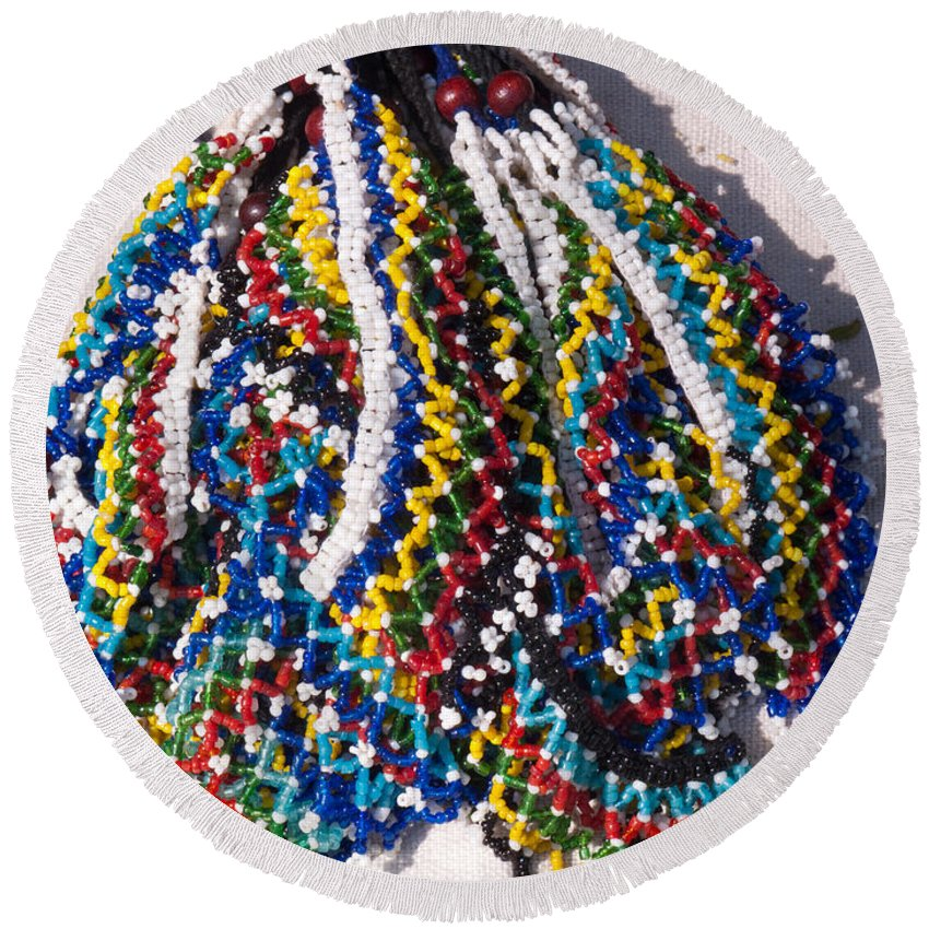 Beads Round Beach Towel featuring the photograph Colorful Beads Jewelery by Ashish Agarwal