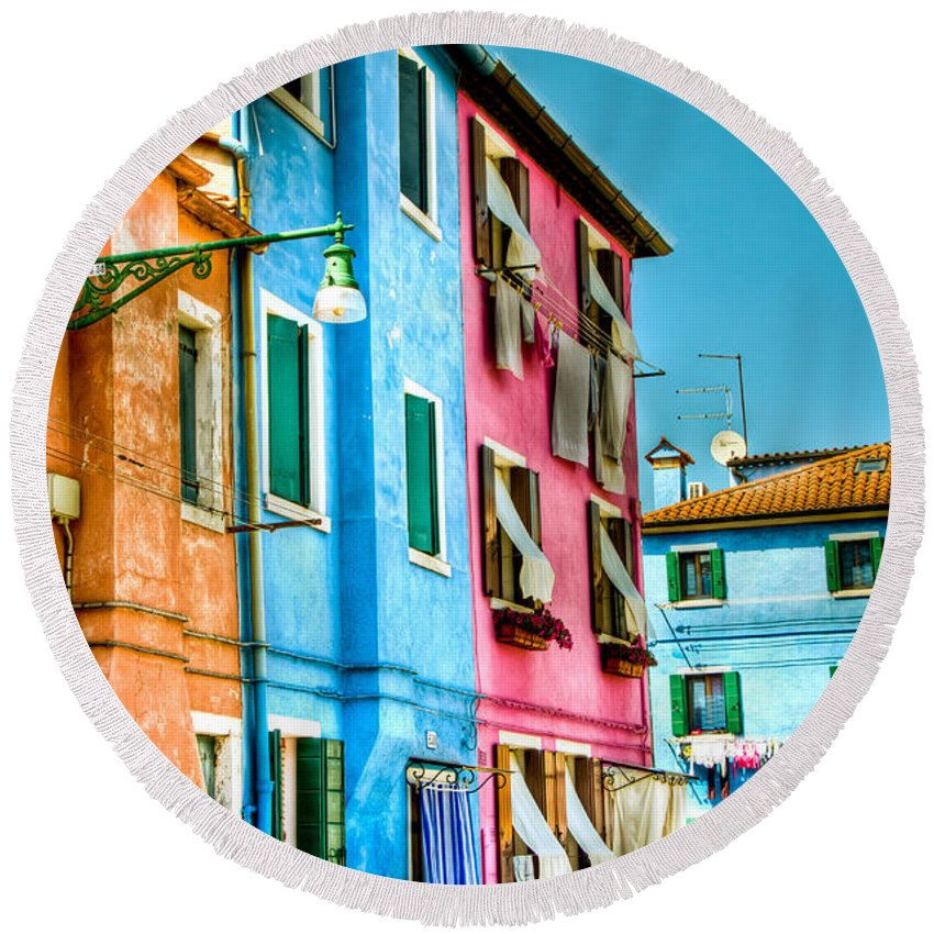 Burano Round Beach Towel featuring the photograph Colorful Burano by Jon Berghoff