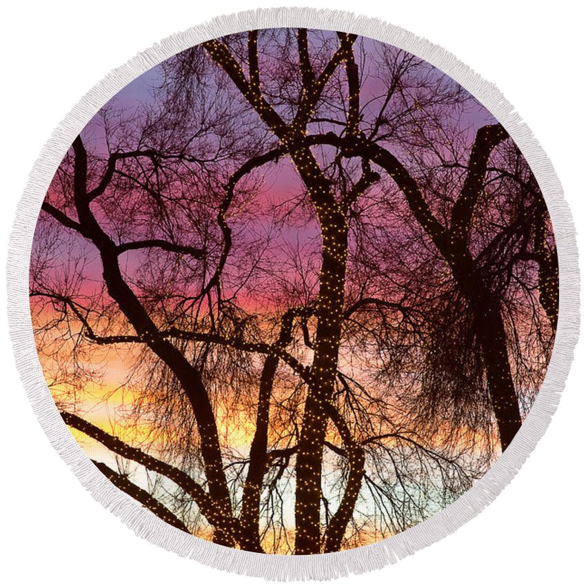 'canvas Art' Round Beach Towel featuring the photograph Colorful Silhouetted Trees 37 by James BO Insogna