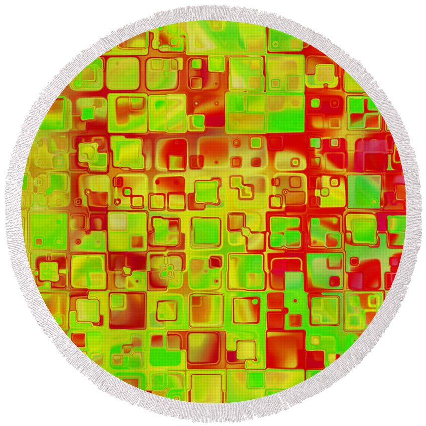 Abstract Round Beach Towel featuring the digital art Colorful Squares II by Debbie Portwood