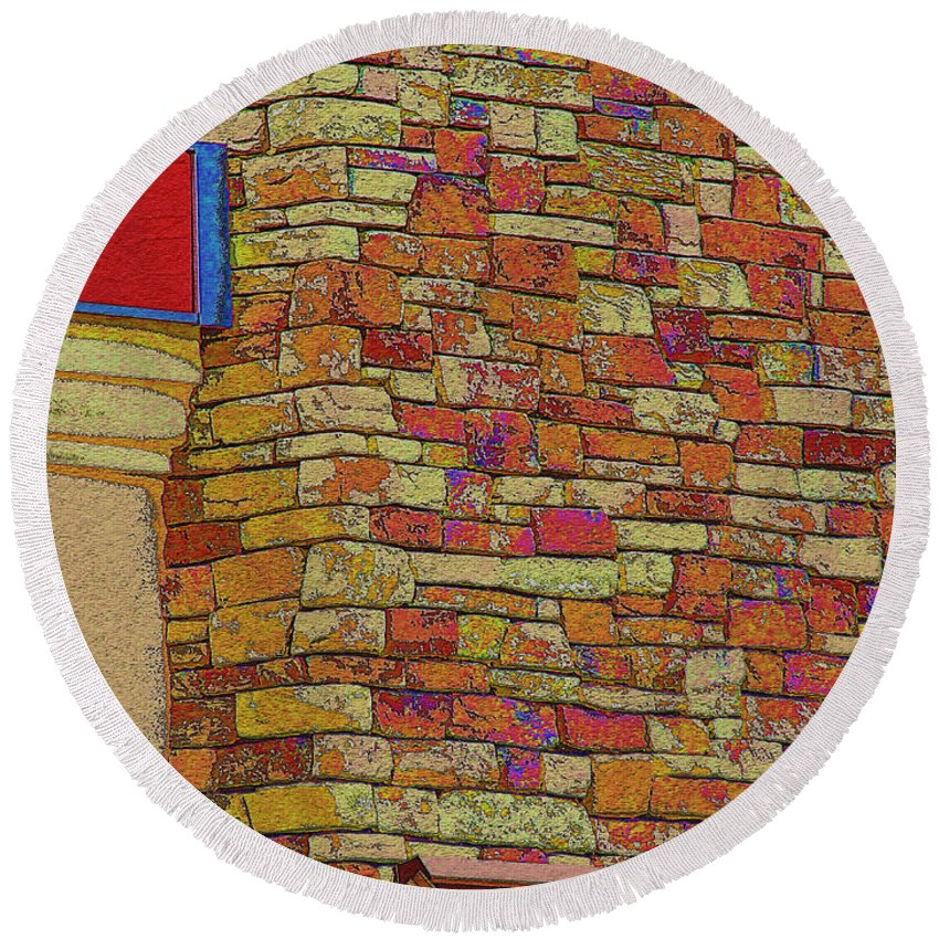 Arcitecture Round Beach Towel featuring the digital art Colorful Stacked Stone by Debbie Portwood