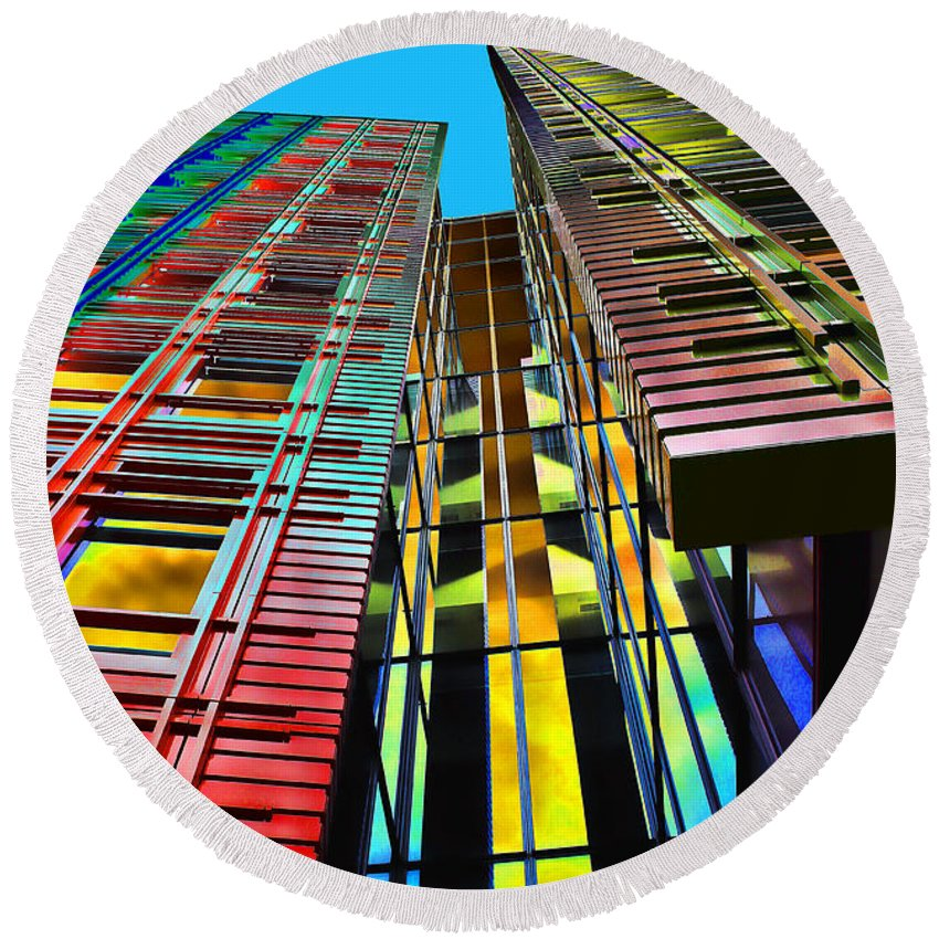 Urban Round Beach Towel featuring the photograph Colors In The City With Clouds by Jasna Buncic
