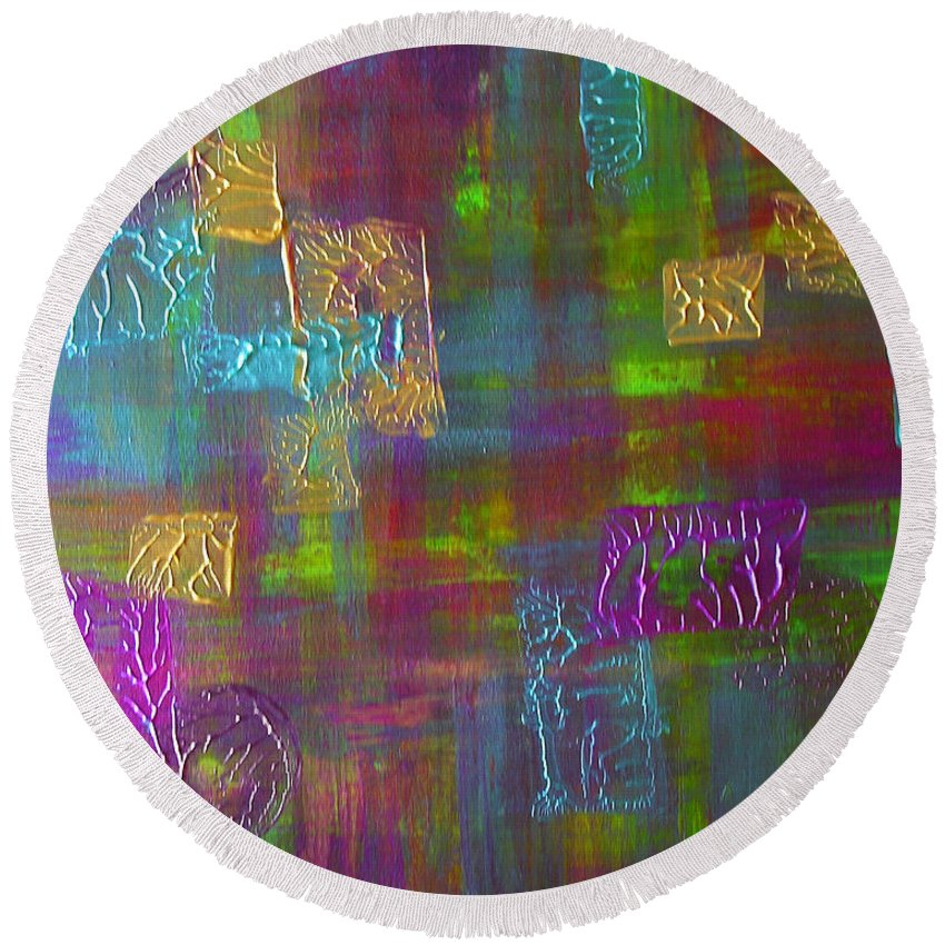 Turquoise Round Beach Towel featuring the painting Colors by Peggy Starks