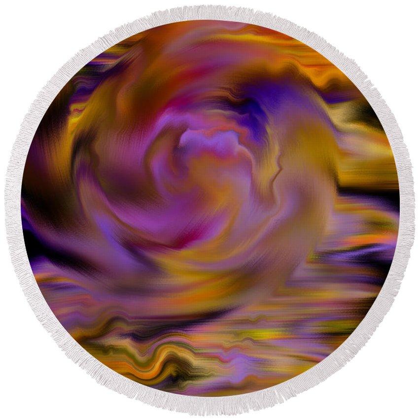 Digital Round Beach Towel featuring the painting Colourful Swirl by Hakon Soreide