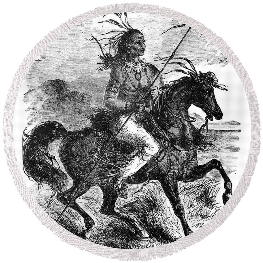 1879 Round Beach Towel featuring the photograph Comanche Warrior, 1879 by Granger