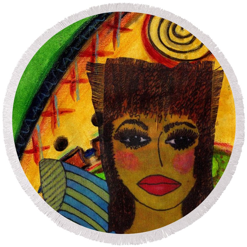 Women Round Beach Towel featuring the mixed media Come Dream With Me by Angela L Walker