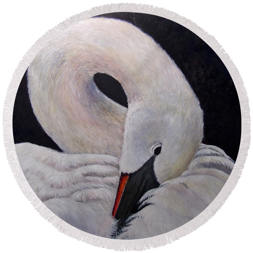 Swan Round Beach Towel featuring the painting Comfort by Dee Carpenter