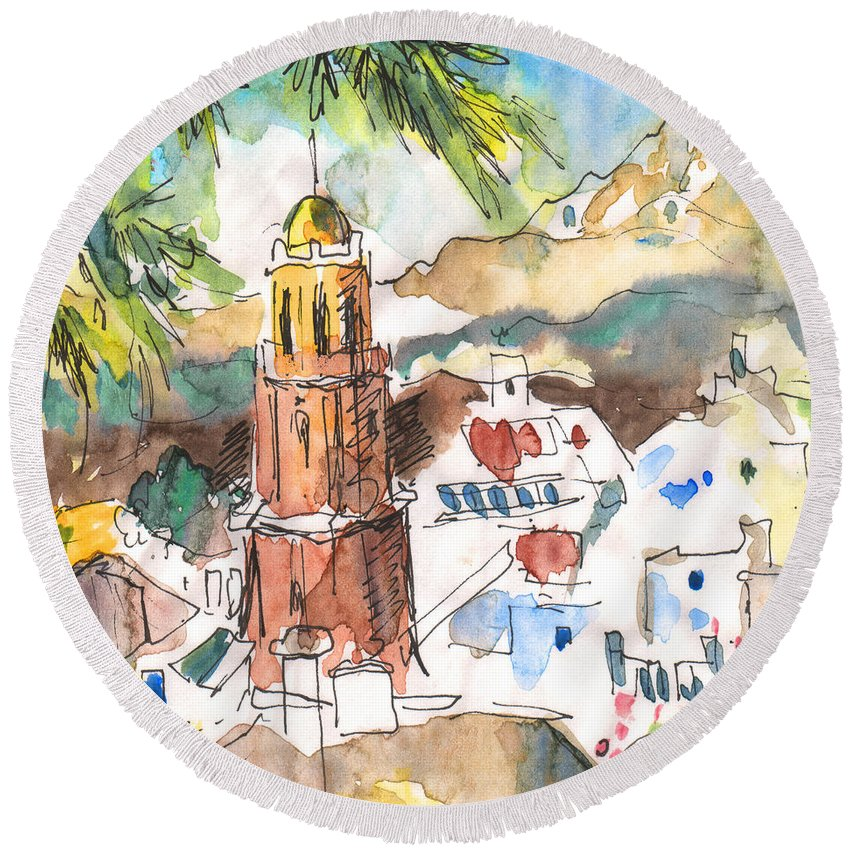 Travel Round Beach Towel featuring the painting Competa 01 by Miki De Goodaboom