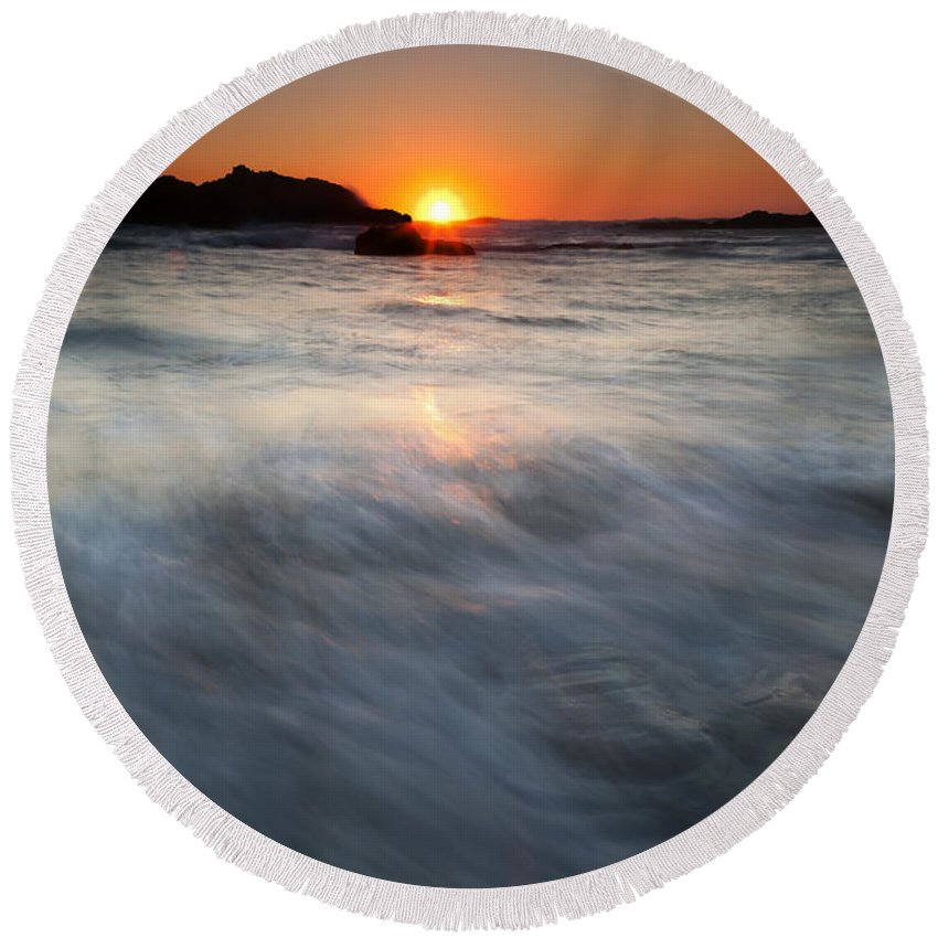 Seal Rock Round Beach Towel featuring the photograph Concealed By The Tides by Mike Dawson
