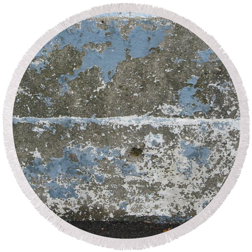 Urban Round Beach Towel featuring the photograph Concrete Blue 2 by Anita Burgermeister