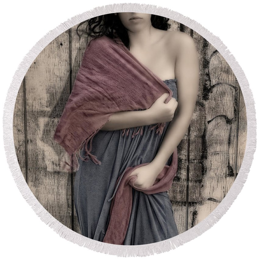 Woman Round Beach Towel featuring the photograph Concrete Velvet 5 by Donna Blackhall