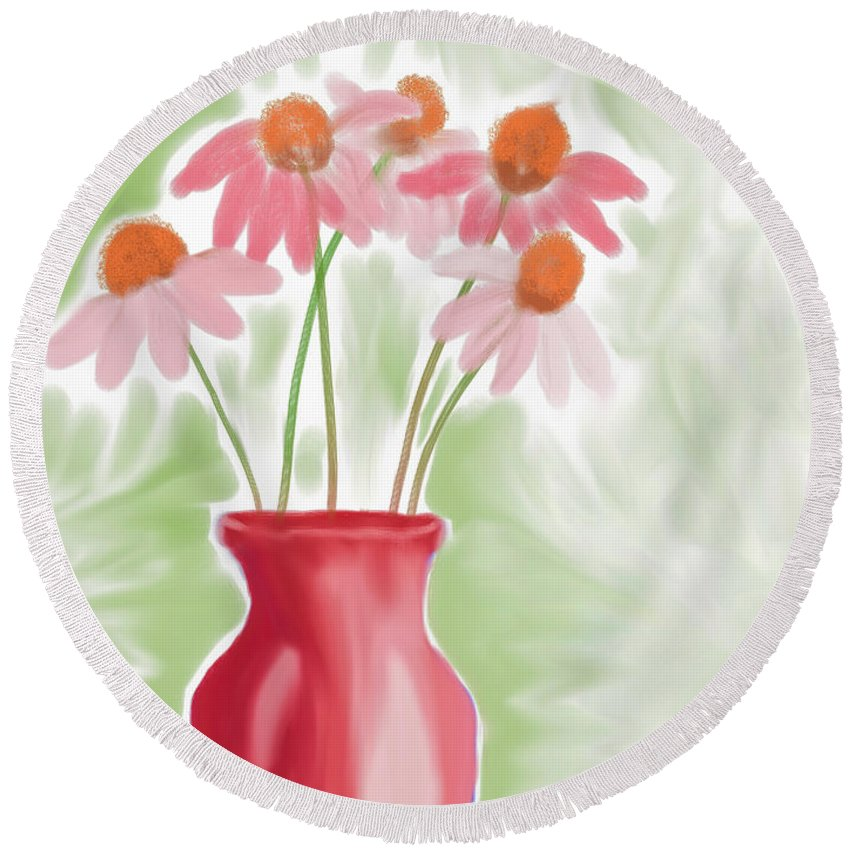 Vase Round Beach Towel featuring the painting Coneflower Still Life by Heidi Smith