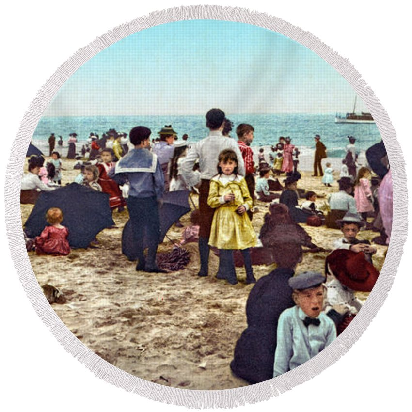 1902 Round Beach Towel featuring the photograph Coney Island: Beach, C1902 by Granger