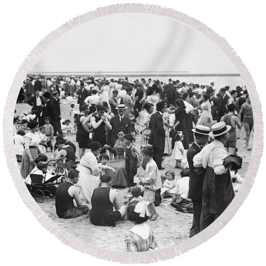 coney Island Round Beach Towel featuring the photograph Coney Island New York - 1912 by International Images