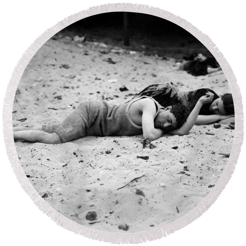 20th Century Round Beach Towel featuring the photograph Coney Island: Sleeping by Granger