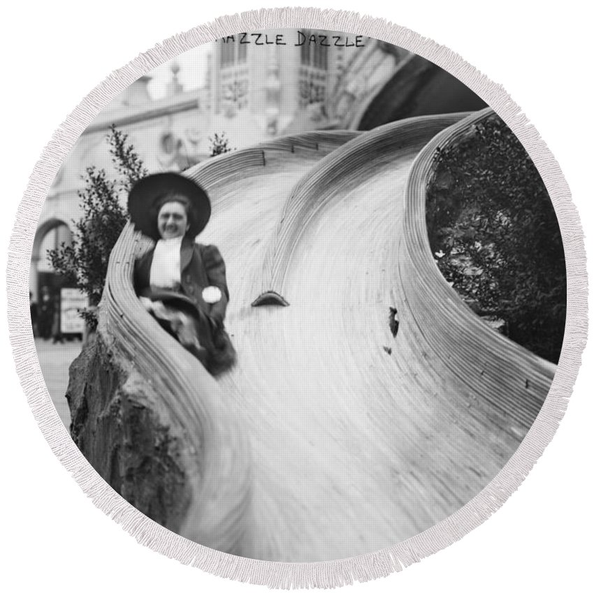20th Century Round Beach Towel featuring the photograph Coney Island: Slide by Granger