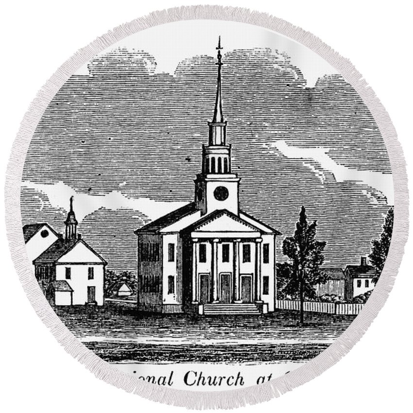 1836 Round Beach Towel featuring the photograph Connecticut: Church, 1836 by Granger