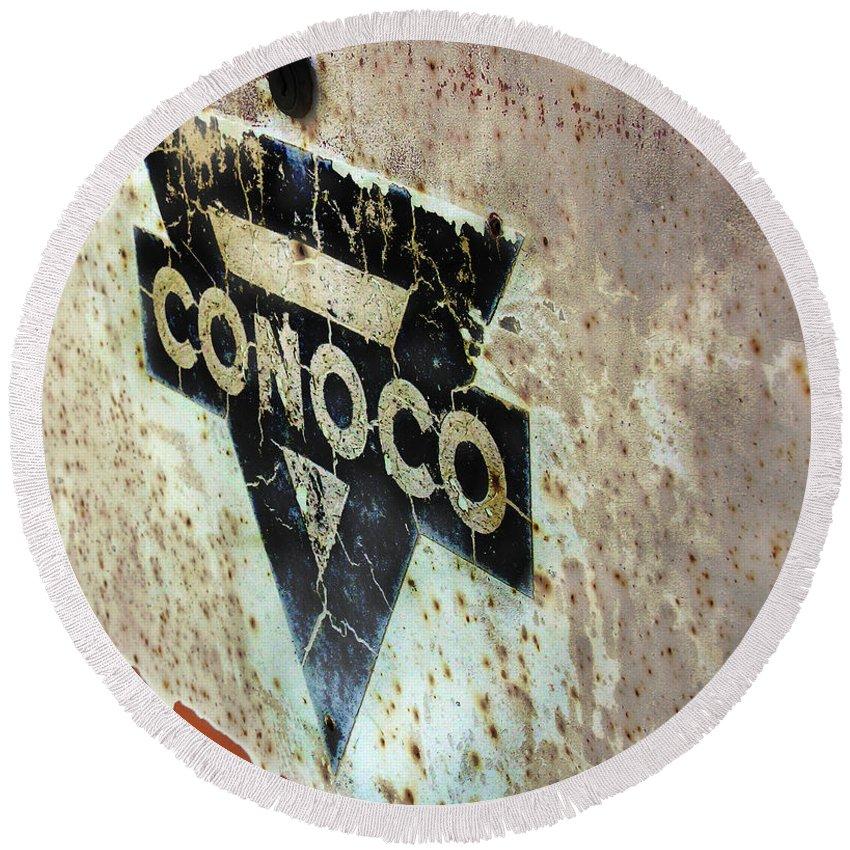 Conoco Round Beach Towel featuring the photograph Conoco by Adam Vance