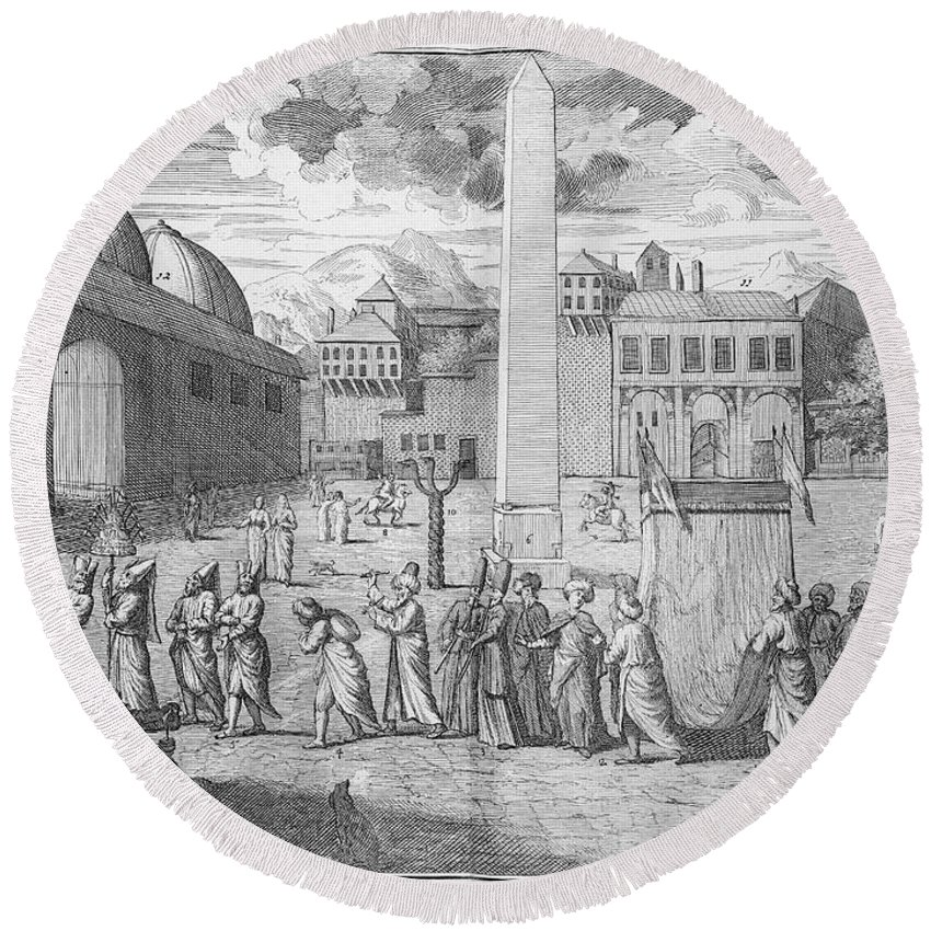 1727 Round Beach Towel featuring the photograph Constantinople, 1727 by Granger