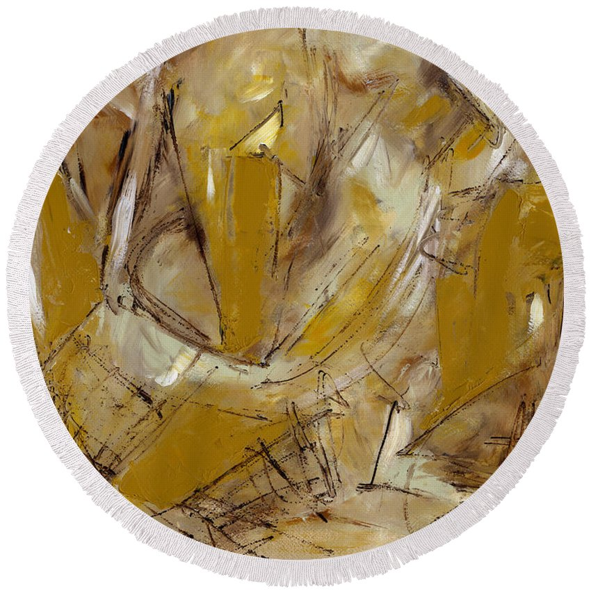 Contemporary Round Beach Towel featuring the painting Contemperary Painting 39 by Lynne Taetzsch