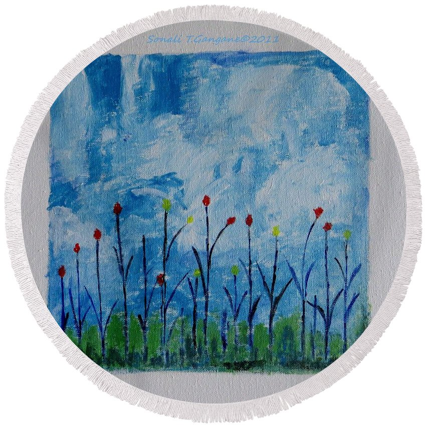 Flowers Round Beach Towel featuring the painting Conviction by Sonali Gangane
