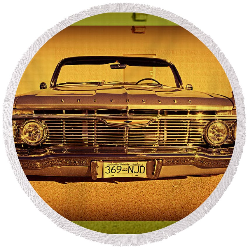 Cars Round Beach Towel featuring the photograph Cool Impala by Randy Harris