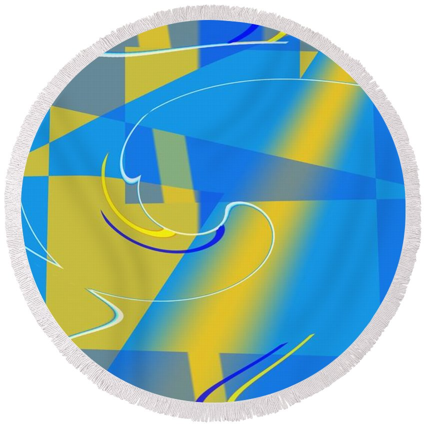 Cool Round Beach Towel featuring the digital art Coolbluelines by Helmut Rottler