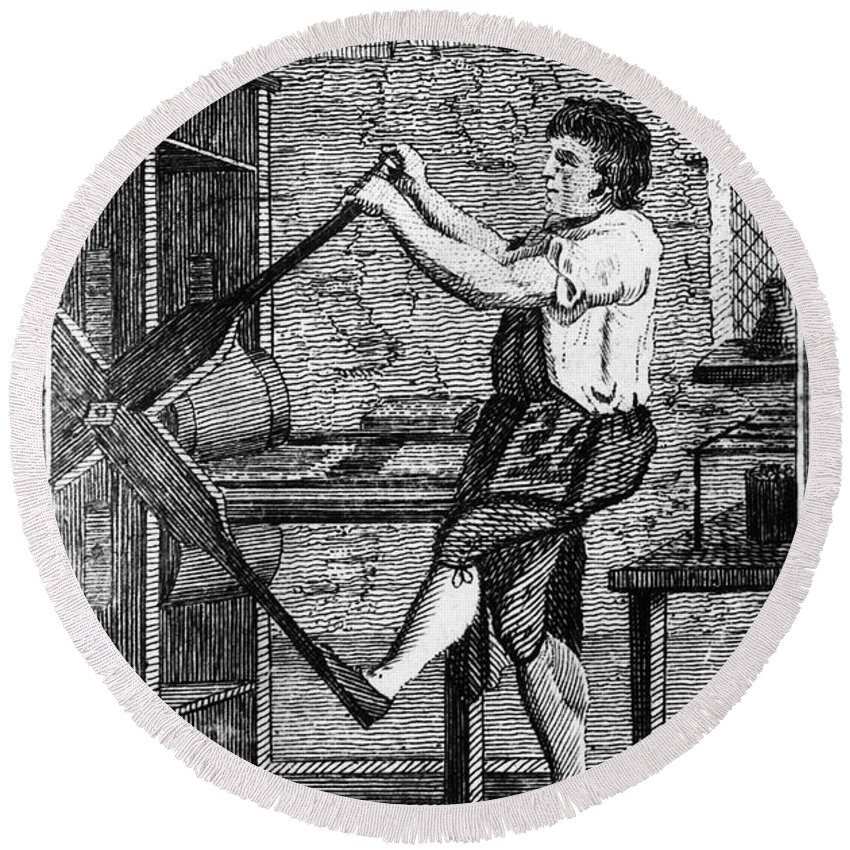1807 Round Beach Towel featuring the photograph Copper Plate Printer, 1807 by Granger