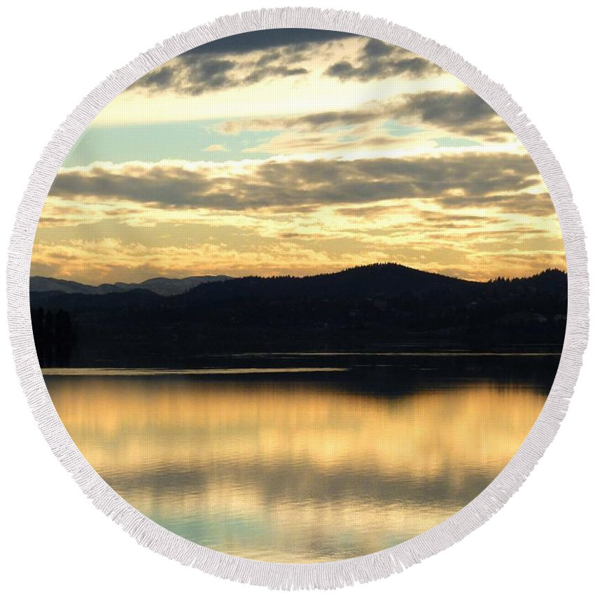 Copper Sky Round Beach Towel featuring the photograph Copper Sky And Reflections by Will Borden