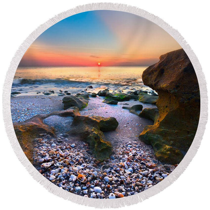 Blowing Rocks Round Beach Towel featuring the photograph Coral Dawn by Debra and Dave Vanderlaan