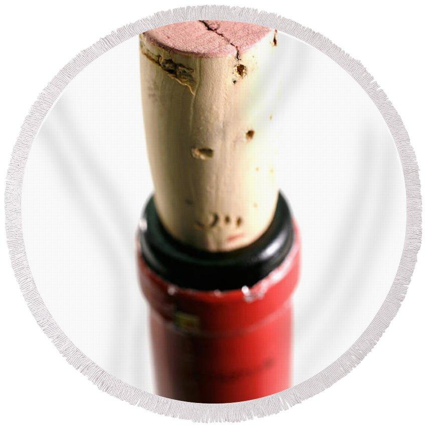 Wine Round Beach Towel featuring the photograph Cork Closeup by Gaspar Avila