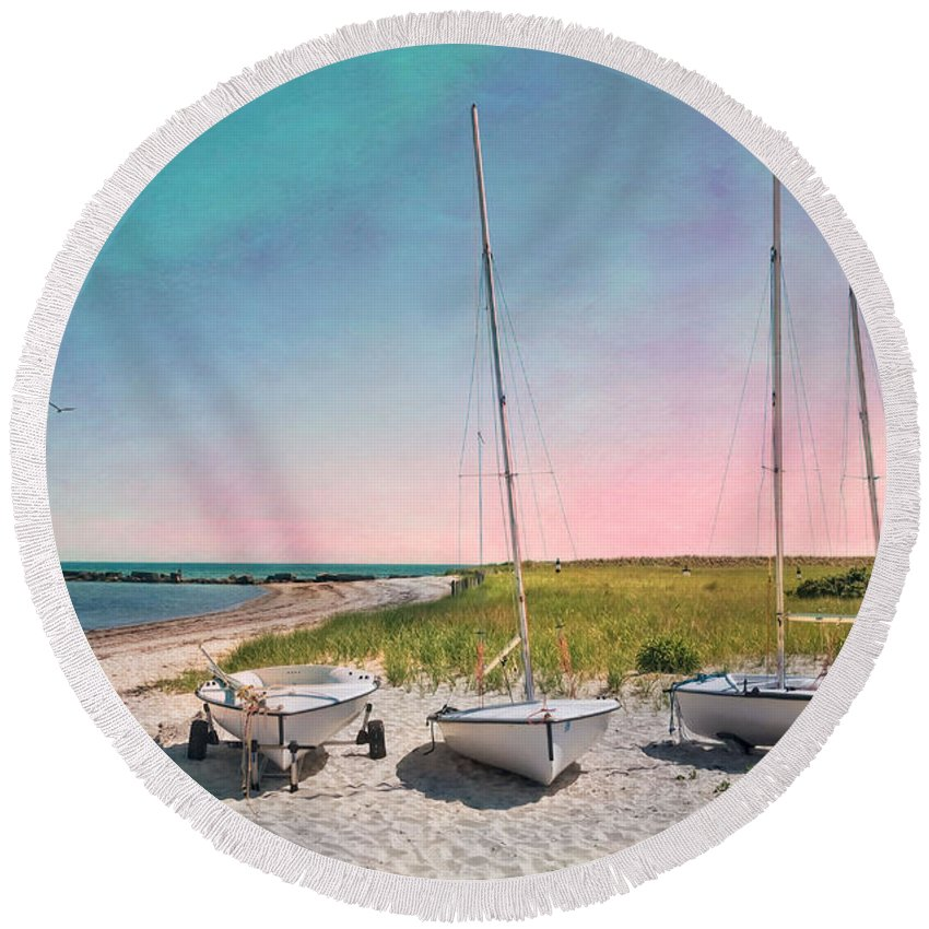 Meteor Round Beach Towel featuring the photograph Cosmic Cape Cod by Robin-Lee Vieira