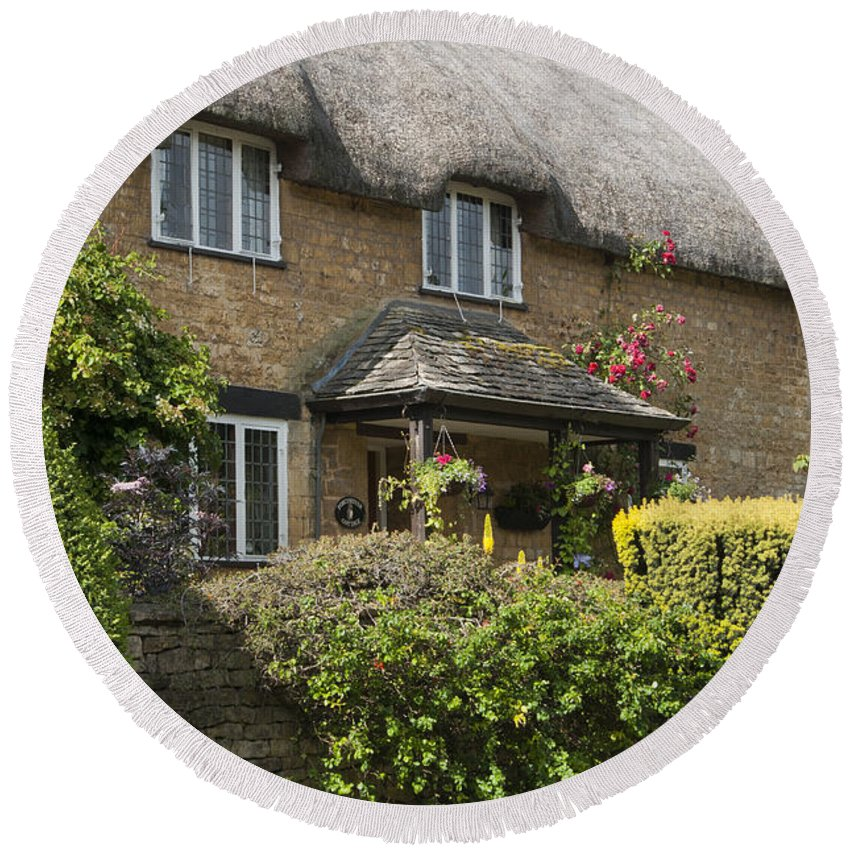 2011 Round Beach Towel featuring the photograph Cotswold Thatched Cottage by Andrew Michael