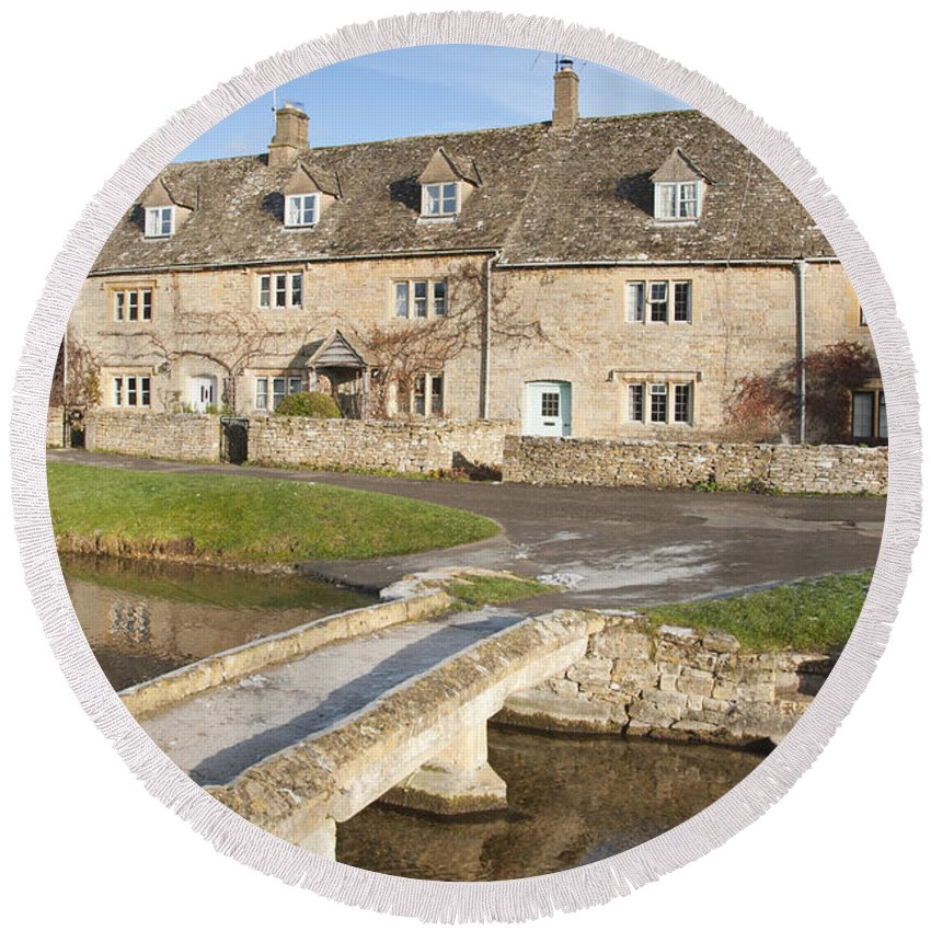 Britain Round Beach Towel featuring the photograph Cotswold Village Of Lower Slaughter by Andrew Michael