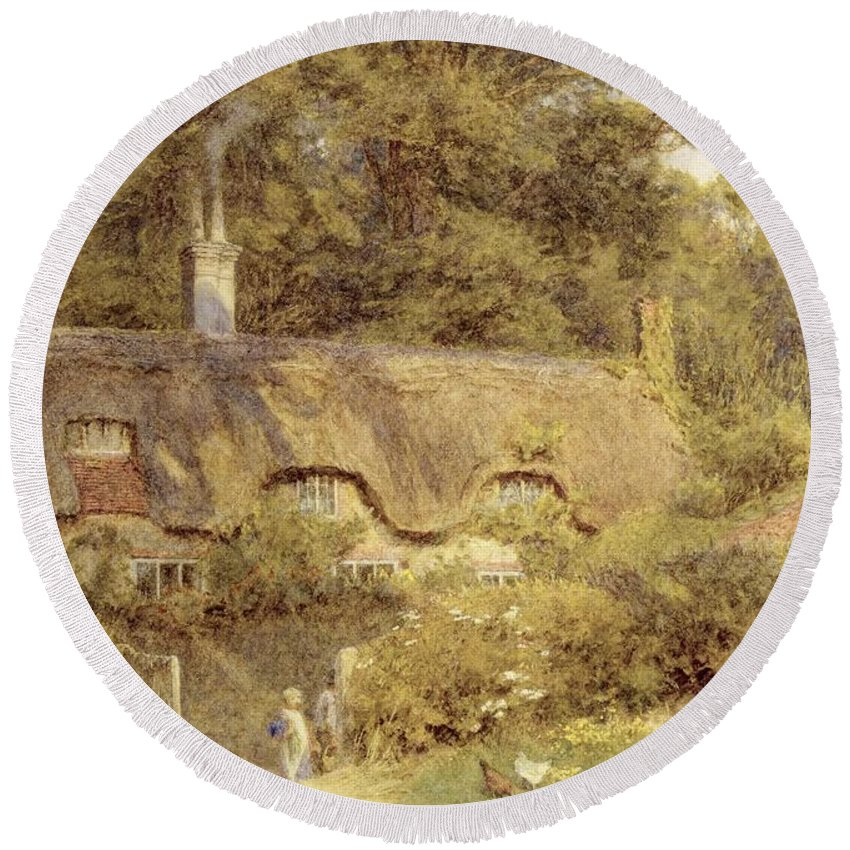 Child; Gate; Rural Scene; Country; Countryside; Home; Path; Garden; House; Wildflowers; Chicken; Picturesque; Idyllic; Female Round Beach Towel featuring the painting Cottage At Farringford Isle Of Wight by Helen Allingham