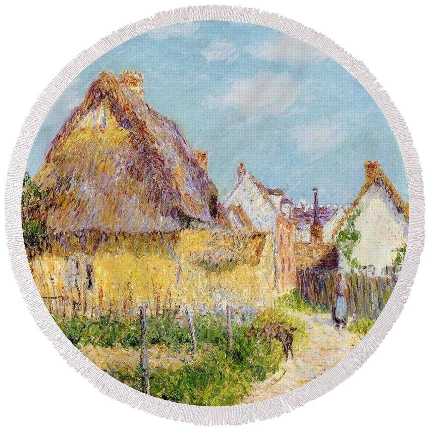 Cottage At Le Vaudreuil Round Beach Towel featuring the painting Cottage At Le Vaudreuil by Gustave Loiseau