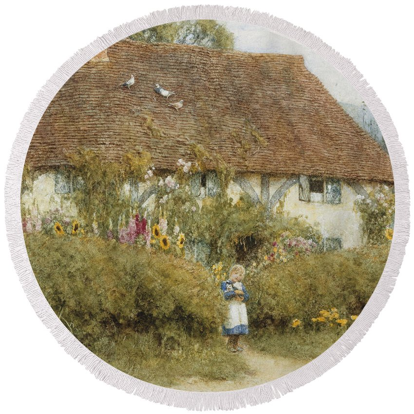English; Landscape; C19th; C20th; Victorian; Rural; Half-timbered; Flowers; Garden; Child; Girl; Female; Sunflowers Round Beach Towel featuring the painting Cottage At West Horsley Surrey by Helen Allingham