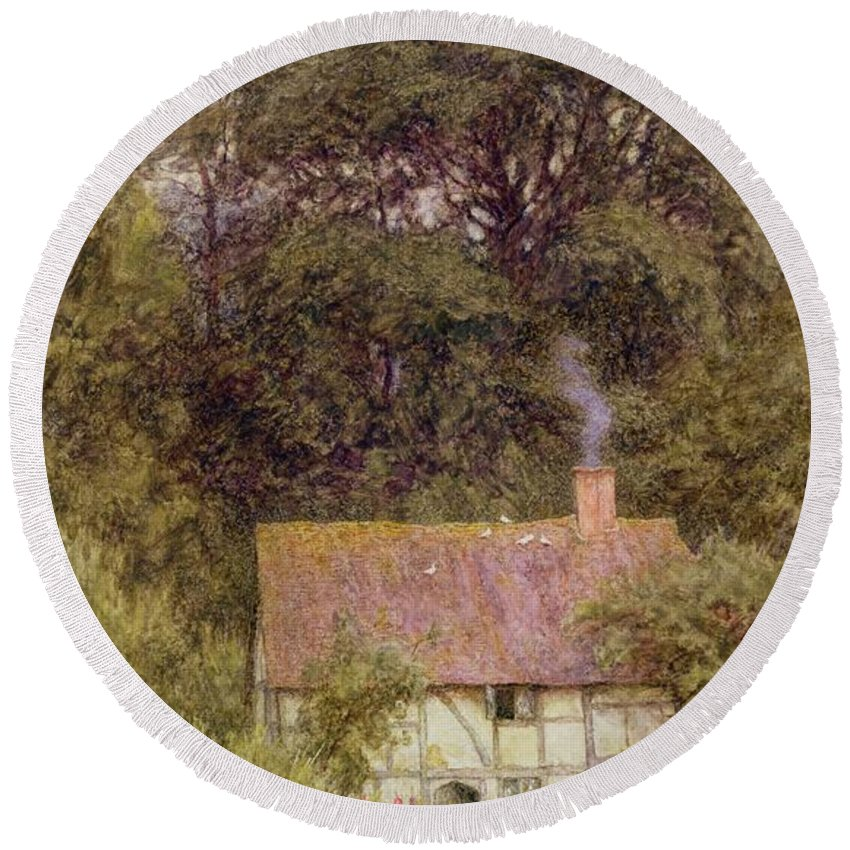 Cottage Near Brook Round Beach Towel featuring the painting Cottage Near Brook by Helen Allingham