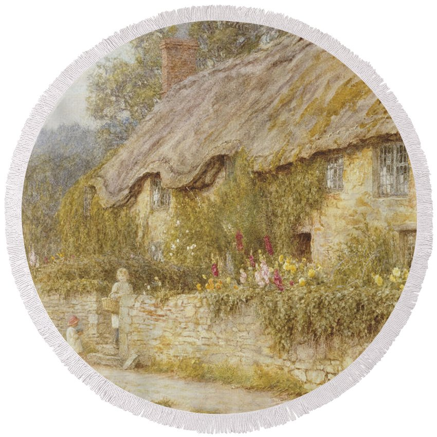 Cottage Near Wells Round Beach Towel featuring the painting Cottage Near Wells Somerset by Helen Allingham