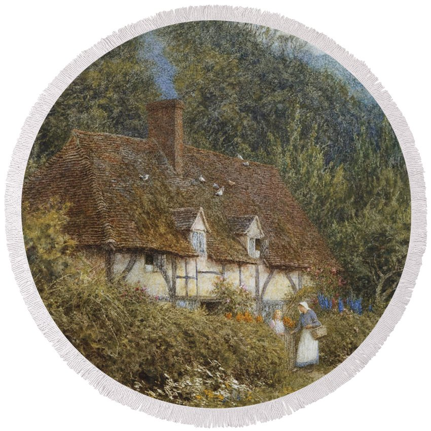English; Landscape; C19th; C20th; Victorian; Half-timbered; Rural; Country; Lane; Women; Female; Gossiping; Chimney; Smoking Round Beach Towel featuring the painting Cottage Near Witley Surrey by Helen Allingham