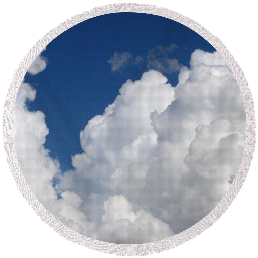 Clouds Round Beach Towel featuring the photograph Cottony Soft by Rhonda Barrett
